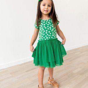 Hanna Andersson Green Daisy Fizzie Dress 6/7